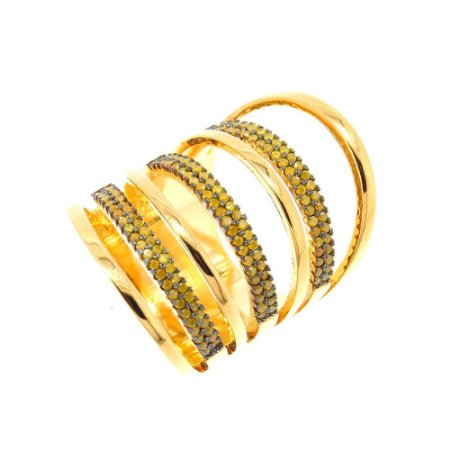 Anel Semijoia Circles Cravejado Zircônias Safira amarela Folheado Ouro 18k AN050