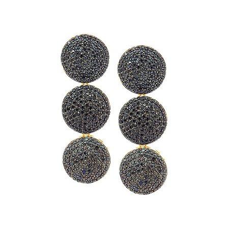 Brinco Semijoia Círculos Cravejado Zircônias Black Folheado Ouro 18k BR078