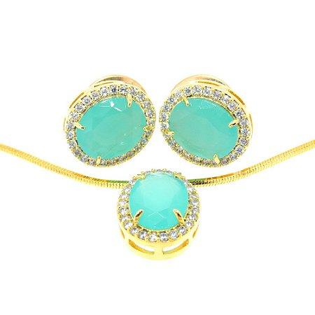 Conjunto Semijoia Paris Cravejado Zircônias Azul Tiffany e Diamond Folheado Ouro 18k CJ001