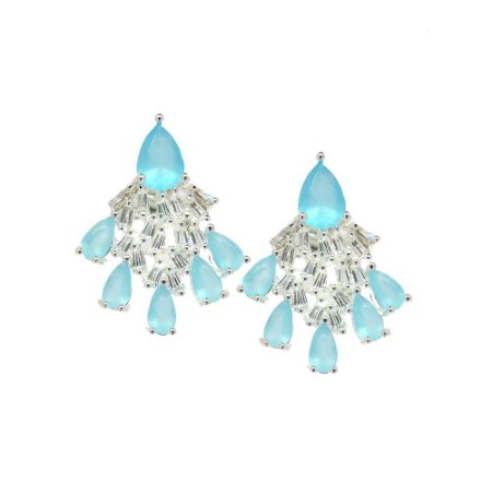 Brinco Semijoia Little Fountain Cravejado Zircônias Sky Blue e Diamond Folheado Prata BR084