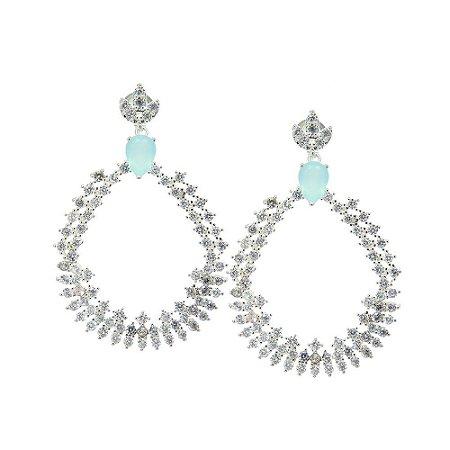 Brinco Semijoia Madeleine Princess Cravejado Zircônias Baby Blue e Diamond Folheado Prata BR087