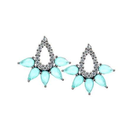 Brinco Semijoia Ballet Cravejado Zircônias Azul Tiffany e Diamond Folheado Ródio Negro BR094
