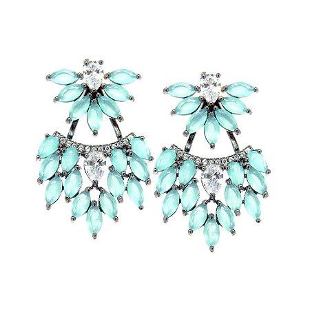 Brinco Semijoia Ear Jacket Lizie Cravejado Zircônias Azul Tiffany e Diamond Folheado Ródio Negro BR095