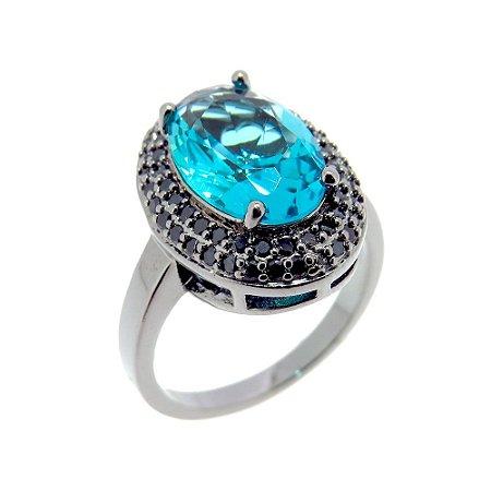 Anel Semijoia Sophia Cristal Topázio Azul Cravejado Zircônias Black Folheado Ródio Negro AN071