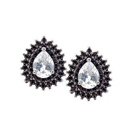 Brinco Semijoia Gota Cravejado Zircônias Diamond e Black Folheado Ródio Negro BR100