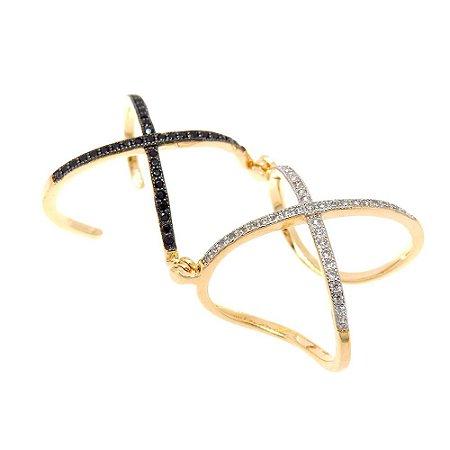 Anel Semijoia X Articulado Cravejado Zircônias Black e Diamond Folheado Ouro 18k AN077