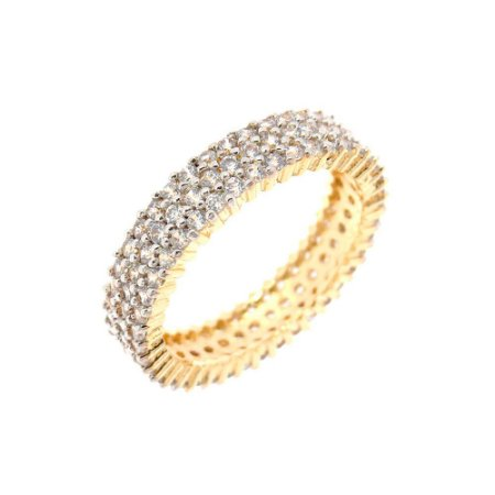 Aliança Semijóia Fabrice Cravejado Zircônias Diamond Folheado Ouro 18k AN078