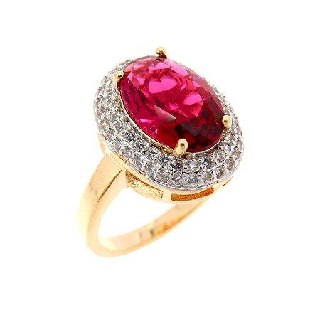 Anel Semijoia Sophia Cravejado Zircônias Diamond e Cristal Rubi Folheado Ouro 18k AN080