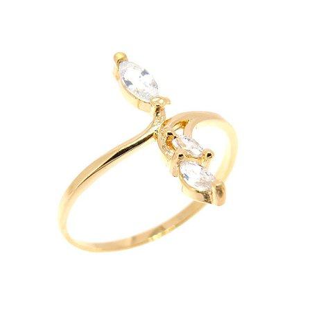 Anel Semijoia Cravejado Zircônias Diamond Folheado Ouro 18k AN083