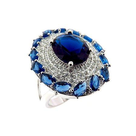 Anel Semijóia Viena Cristal Safira Cravejado Zircônias Diamond Folheado Ródio AN084