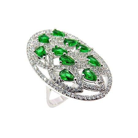 Anel Semijoia Gopal Cristal Esmeralda Cravejado Zircônias Diamond Folheado Ródio AN085
