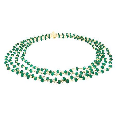 Colar Semijoia Cascade Jade Esmeralda Folheado Ouro 18k CL008