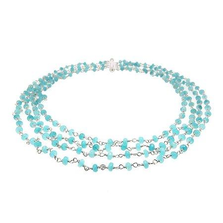 Colar Semijoia Cascade Jade Azul Tiffany Folheado Ródio CL012