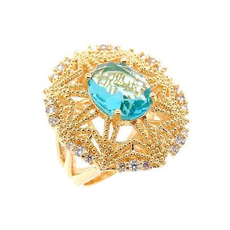Anel Semijoia Padma Cristal Água Marinha Cravejado Zircônias Folheado Ouro 18k AN092