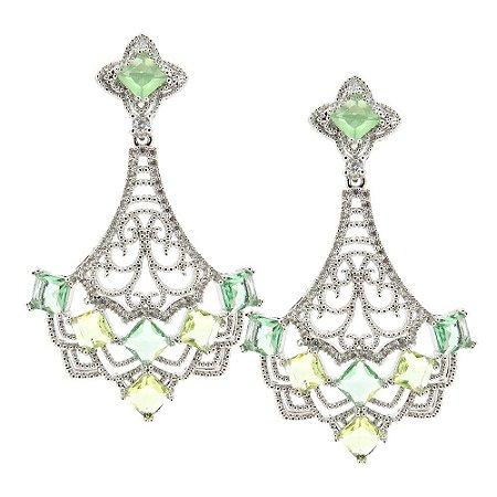 Brinco Semijoia New Deli Cristal Multi Green Cravejado Zircônias Folheado Ródio BR133
