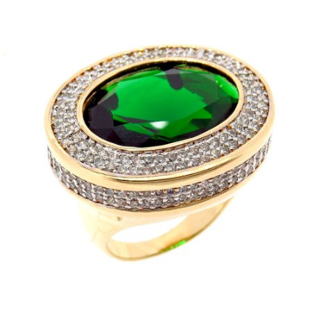 Anel Semijoia Maharashtra Cristal Esmeralda Cravejado Zircônias Folheado Ouro 18k AN110