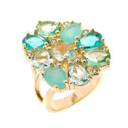 Anel Semijoia Yoni Cristal Multi Green Cravejado Zircônias Folheado Ouro 18k AN112