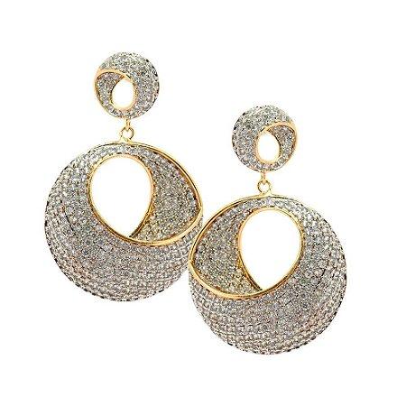 Brinco Semijóia Infinity Wheels Cravejado Zircônias Diamond Folheado Ouro 18k BR138