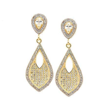 Brinco Semijóia Siwan Cravejado Zircônia Diamond Folheado Ouro 18k BR144