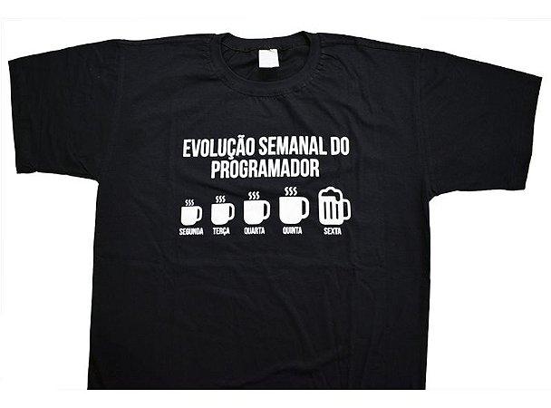 Camiseta Evolução Semanal do Programador - Preta