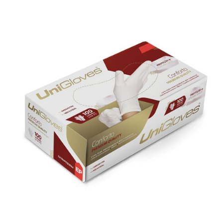 Luva S/ Pó Unigloves Branca 100 Und