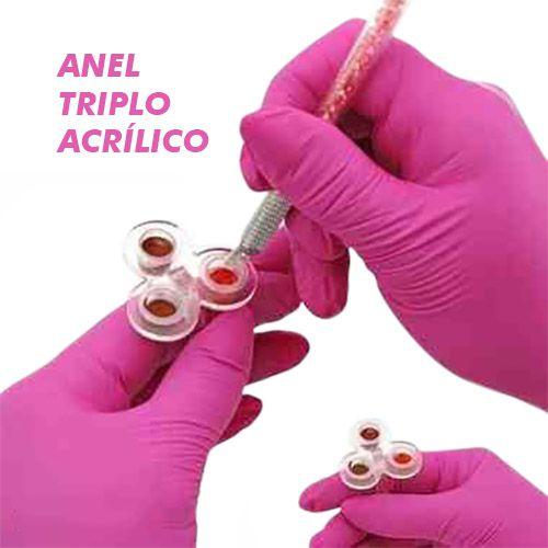 Anel Triplo Acrílico + 50 Batoques