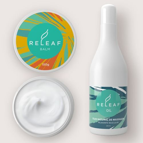 KIT PARA DOR MUSCULAR: Creme para dor muscular - Releaf Balm . 150g + Óleo de massagem hidratante - Releaf Oil . 250ml