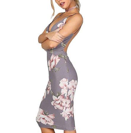 Vestido Midi Cinza Floral