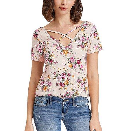 Blusa Estampa Floral com Tiras