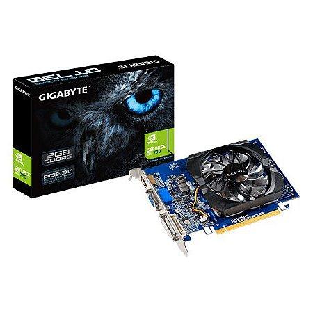 Placa de vídeo PCI-E Gigabyte nVIDIA GeForce GT 730 2 Gb GDDR5 64 Bits (GV-N730D5-2GI)