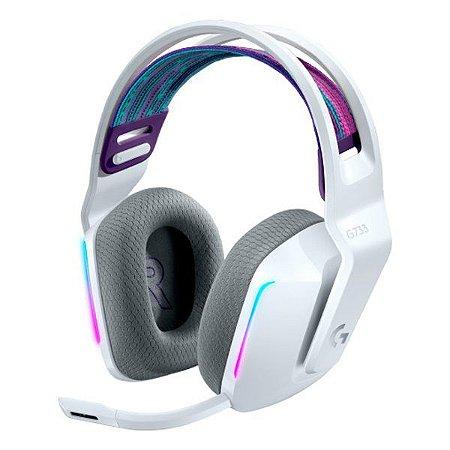 Headset gamer wireless Surround 7.1 Logitech Lightspeed G733 (981-000882) branco