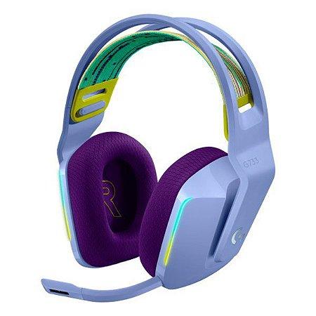Headset gamer wireless Surround 7.1 Logitech Lightspeed G733 (981-000889) lilás