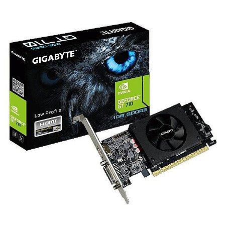 Placa de vídeo PCI-E Gigabyte nVIDIA GeForce GT 710 1 Gb GDDR5 64 Bits (GV-N710D5-1GL 2.0)