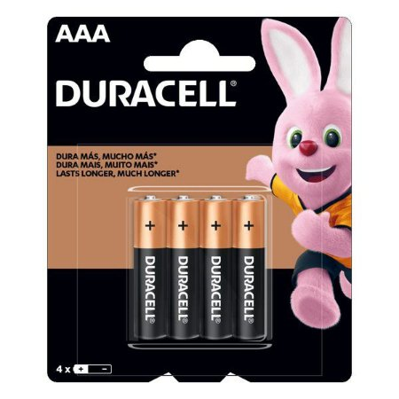 Pilha AAA alcalina 1.5V Duracell (Blister com 4)