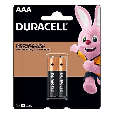 Pilha AAA alcalina 1.5V Duracell (Blister com 2)