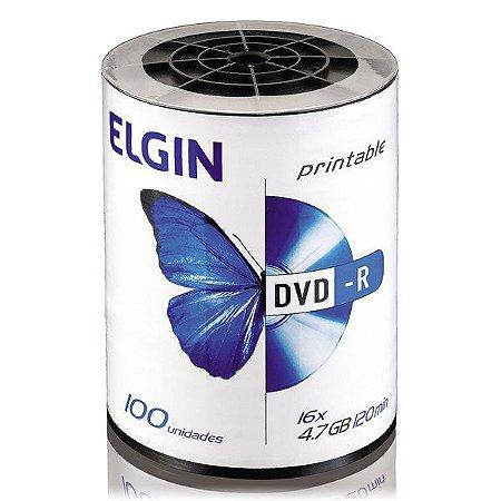 DVD-R printable Elgin 4,7 Gb 16x - Embalagem com 100 unidades (82068)