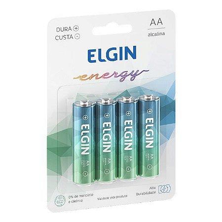Pilha AA alcalina 1.5V Elgin LR6 (Blister com 4)