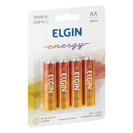 Pilha AA Zinco 1.5V Elgin R6 (Blister com 4)
