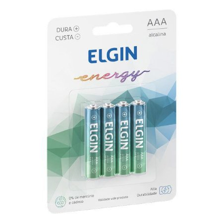 Pilha AAA alcalina 1.5V Elgin LR03 (Blister com 4)