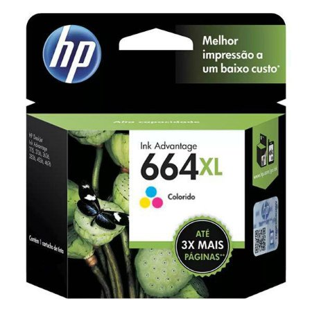 Cartucho de tinta HP 664XL colorido (F6V30AB)