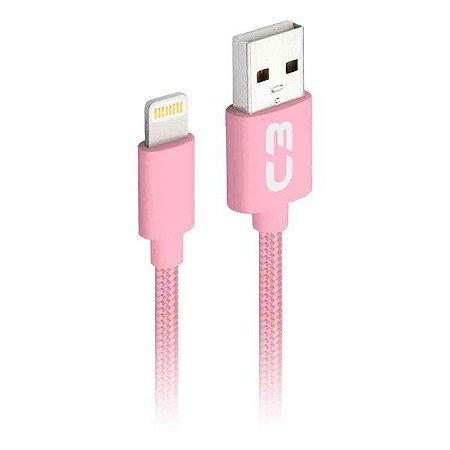Cabo Lightning 2.0 AM 8 pinos x USB 1 metro C3Plus CB-L11PKX