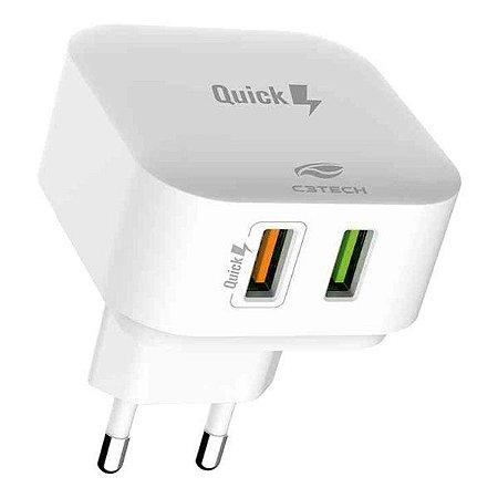 Carregador USB 2 saídas bivolt 2.4A C3Tech UC-Q230WH