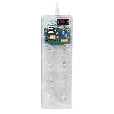 Protetor de surto 3 pinos 10A bivolt Clamper iClamper Energia 8 USB com filtro de linha 8 tomadas transparente