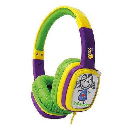 Fones de ouvido infantil oex Cartoon HP302 roxo/vede (48.5938)