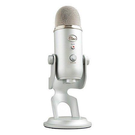 Microfone condensador USB Blue Yeti prata (988-000103)