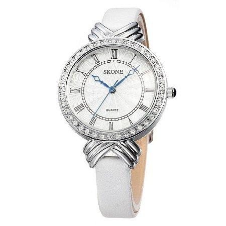 7418817c7bb Relógio Feminino Skone Analógico Casual Branco 9092 - MegaHora