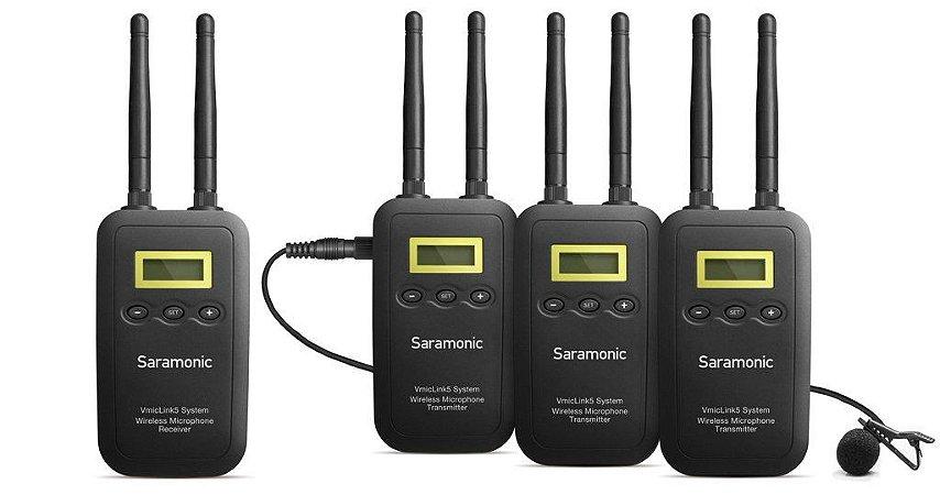 VmicLink5 5.8GHz sistema de microfone sem fio com 3 transmissores