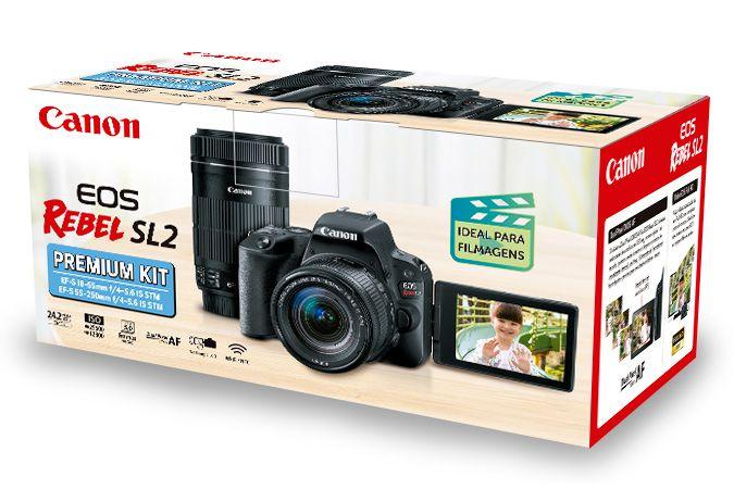 Câmera EOS Rebel SL2 Premium Kit com Lente EF-S 18-55mm + Lente E EF-S 55-250mm
