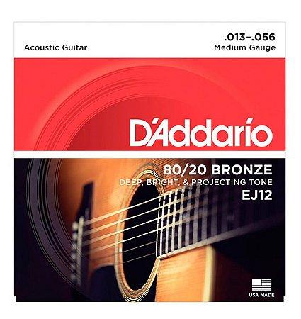 Encordoamento D'addario Violão 6C 80/20 Bronze EJ12