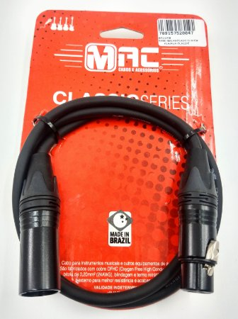 CABO MAC BALANCEADO 03FT/0.91M XLR+XLR CLASSIC MC03XB